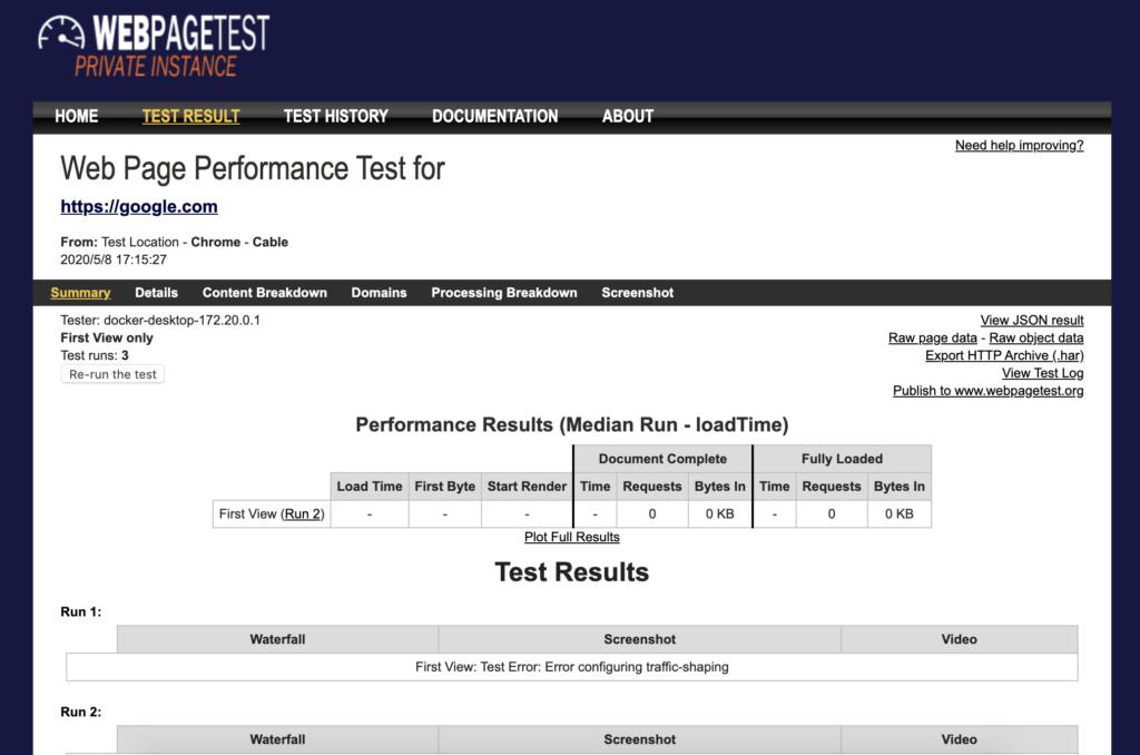First View: Test Error: Error configuring traffic-shapingが表示される