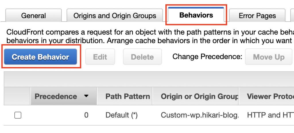 「Create Behavior」をクリック