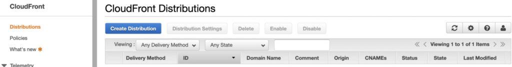 「Create Distribution」をクリック